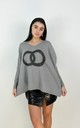 Circle Logo Design Batwing Sleeve Boxy Jumper In Grey by Boutique Store