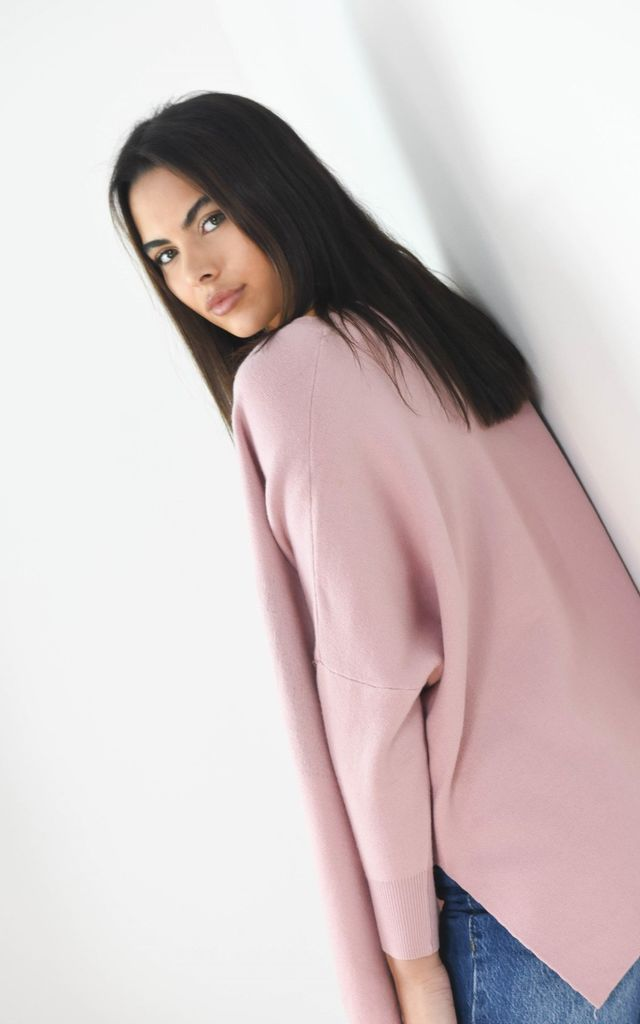 Circle Logo Design Batwing Sleeve Boxy Jumper In Pink by Boutique Store