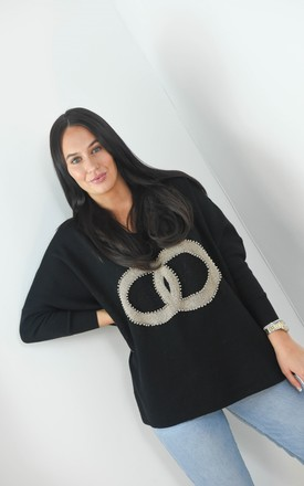 Circle Logo Design Batwing Sleeve Boxy Jumper In Black by Boutique Store