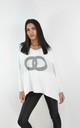 Circle Logo Design Batwing Sleeve Boxy Jumper In White by Boutique Store