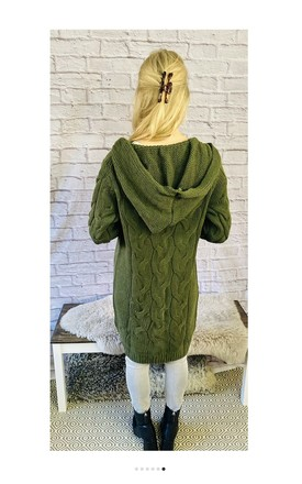 Hooded Cable Knit Longline Cardigan by Pink Lemonade Boutique