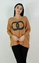 Circle Logo Design Batwing Sleeve Boxy Jumper In Camel by Boutique Store