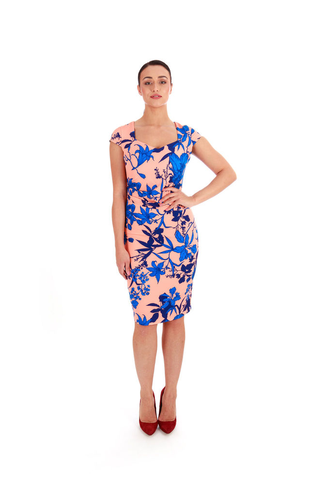 Blue Floral Print Shift Dress by Pineapple