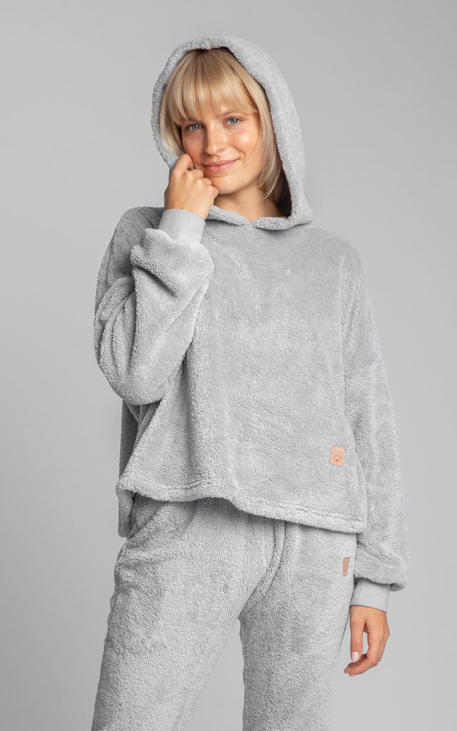 Cozy Fluffy Knit Hoodie in Grey by MOE