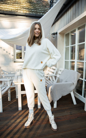 Fluffy Knit Joggers in White by MOE