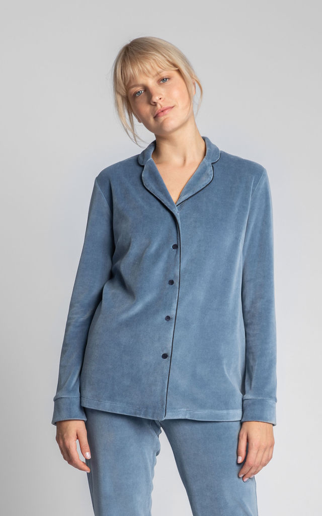 Velvet Pyjama Top With Decorative Piping in Blue by MOE