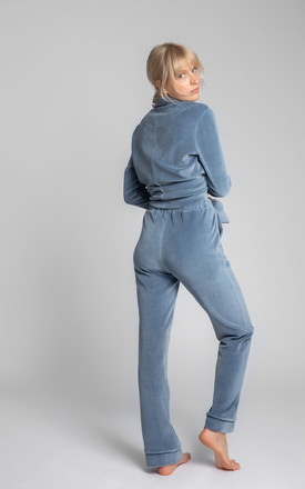 Velvet Pyjama Trousers With Decorative Piping in Blue by MOE