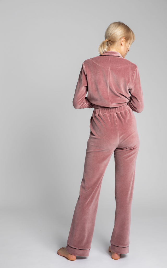 Velvet Pyjama Trousers With Decorative Piping in Dirty Pink by MOE