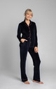 Velvet Pyjama Trousers With Decorative Piping in Navy Blue by MOE