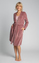 Velvet Robe With A Tie Belt in Dirty Pink by MOE