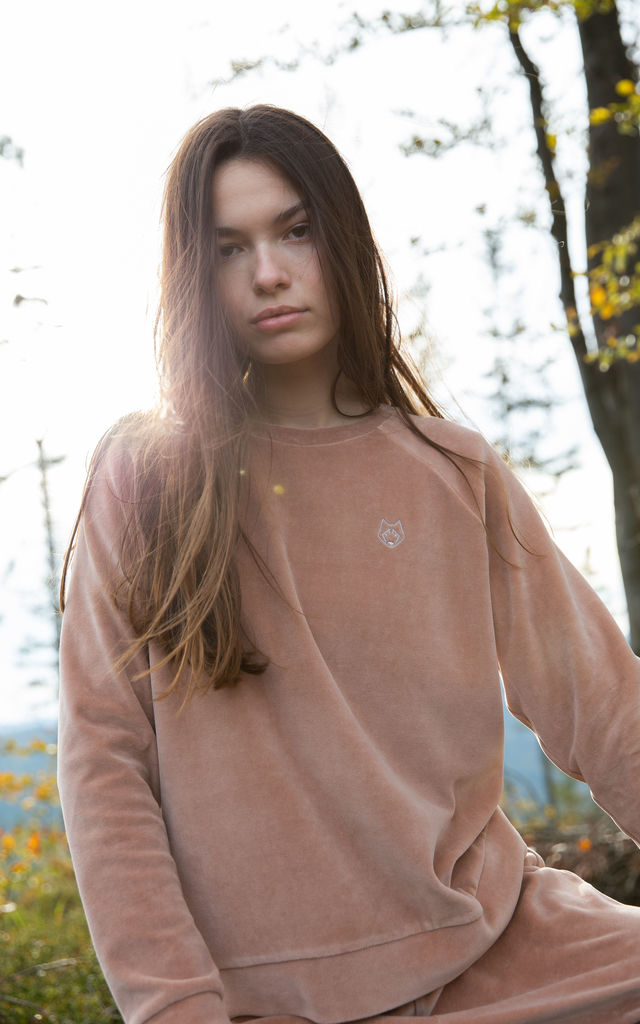 Velvet Pullover with Logo in Beige by MOE
