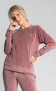 Velvet Pullover with Logo in Dirty Pink by MOE