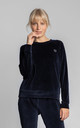 Velvet Pullover with Logo in Navy Blue by MOE