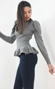 Grey Peplum Ribbed Top Ruffle Trim Hem by Boutique Store