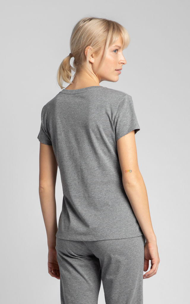 V-Neck T-Shirt in Grey by MOE