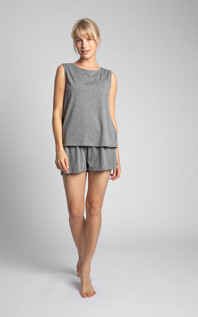 Cotton Sleeveless Top in Grey by MOE
