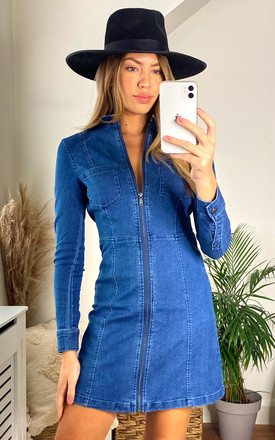 Denim Mini Dress With Zip Front In Medium Blue by Noisy May Product photo