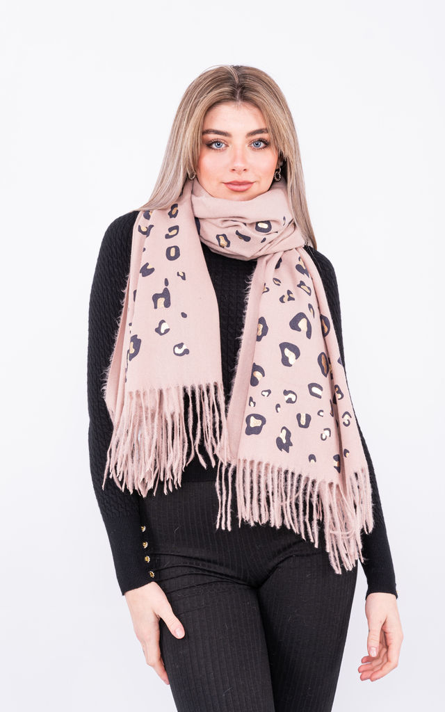 Leopard Print Tassel Scarf (Beige) by Lucy Sparks
