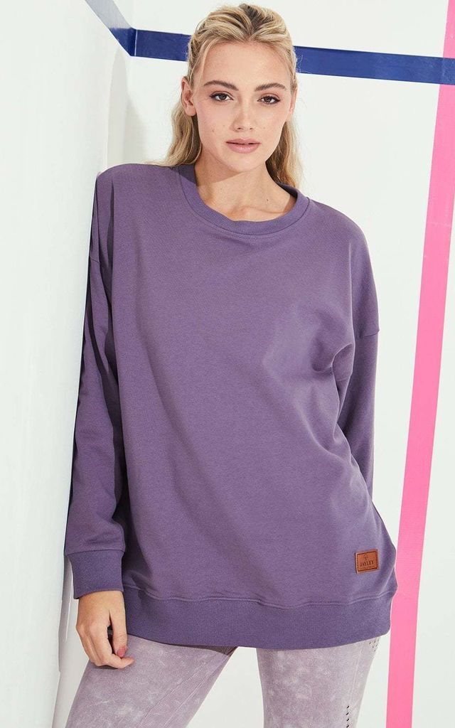 Crew Neck Cotton Sweatshirt in Purple by Jayley Collection