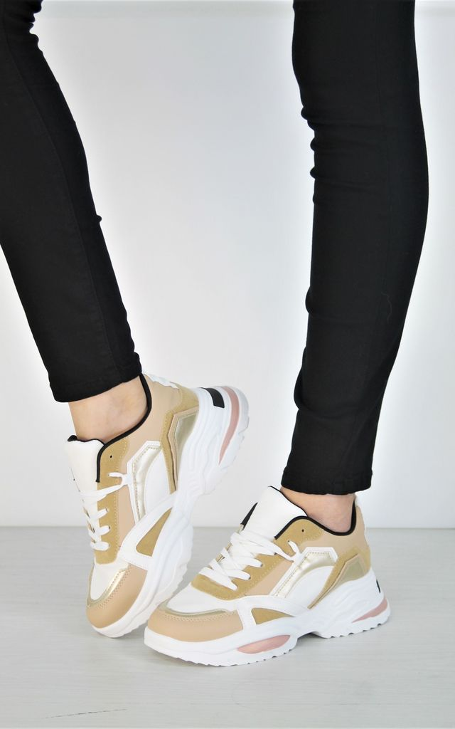 High Chunky Trainers Mixed Panel Sneakers In Camel by Boutique Store