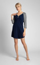Cotton Sleepshirt in Navy Blue - Grey by MOE