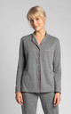 Cotton Sleepshirt With Decorative Piping in Grey by MOE