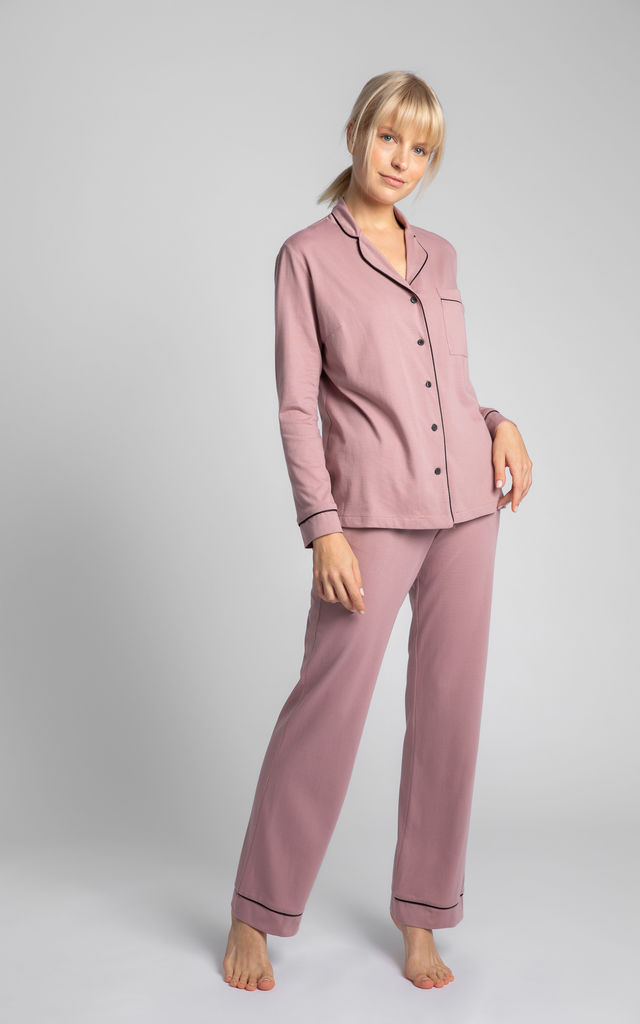 Cotton Sleepshirt With Decorative Piping in Dirty Pink by MOE