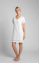 Cotton Sleepshirt With V-Neck in White by MOE