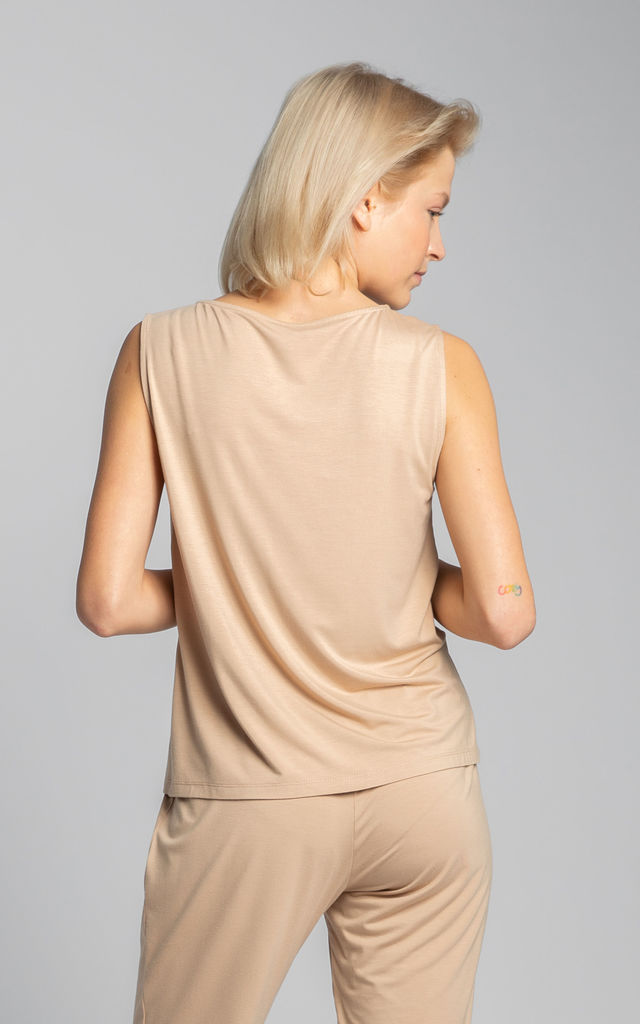 Sleeveless Top With A Chest Pocket in Beige by MOE
