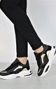High Chunky Trainers Mixed Panel Sneakers In Black by Boutique Store