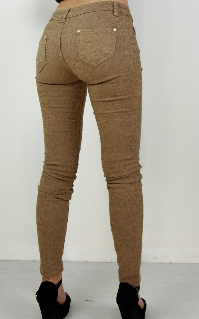 Dark Beige Embroidered Lace Skinny Jeggings by Boutique Store