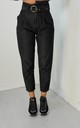 High Asymmetrical Belted Waist Jeans In Black by Boutique Store