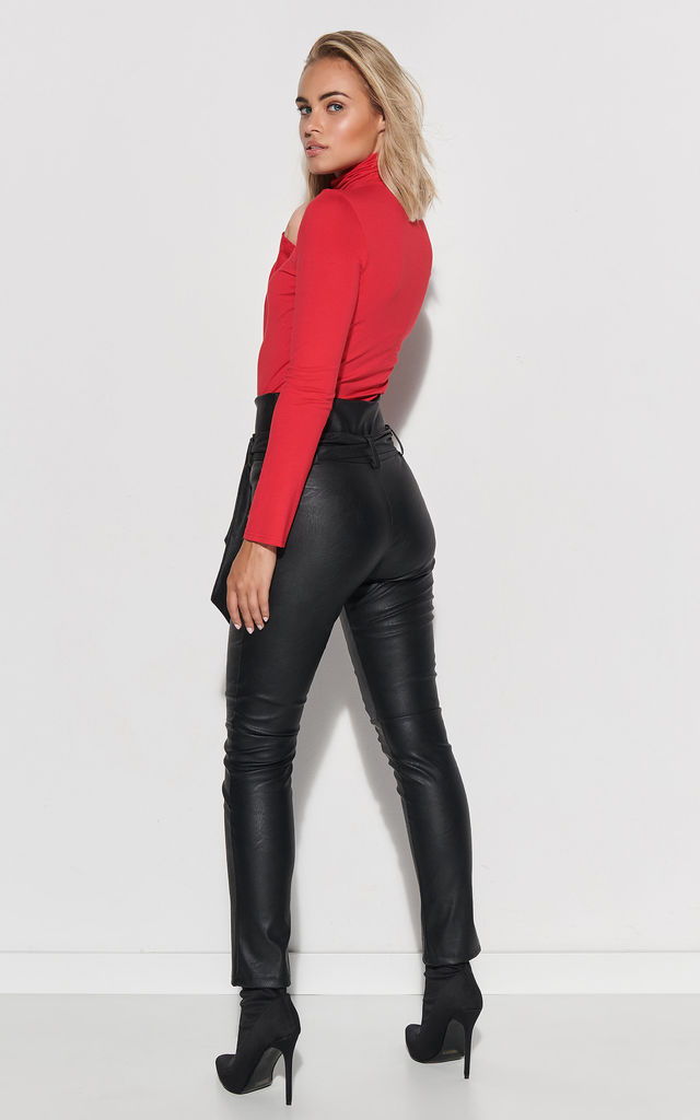 High Waist Leather Look Trousers in Black by Makadamia