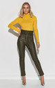 High Waist Leather Look Trousers in Khaki by Makadamia