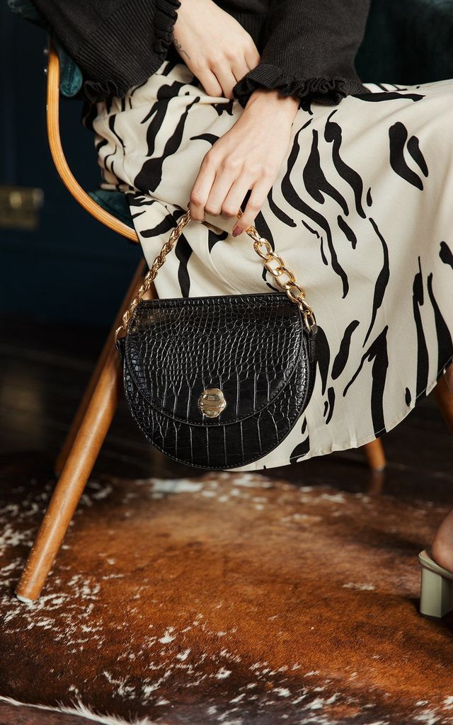 Half Moon Croc Effect Bag by Sugar + Style