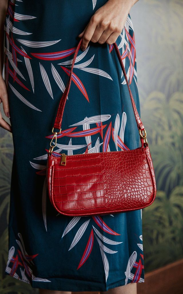 Red Croc Effect 90s Mini Shoulder Bag by Sugar + Style