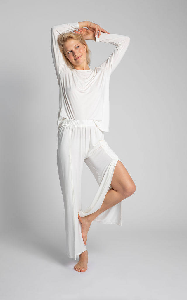 Pyjama Trousers With High Splits in White by MOE