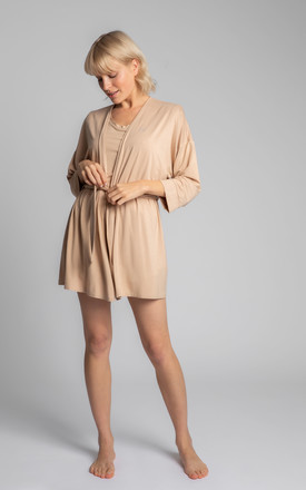 Short Dressing Gown in Beige by MOE