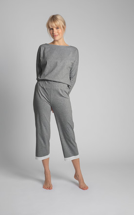 Cotton Pyjama Trousers with Lace Hem in Grey by MOE