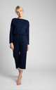 Cotton Pyjama Trousers with Lace Hem in Navy Blue by MOE