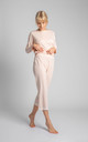 Cotton Pyjama Trousers with Lace Hem in Light Pink by MOE