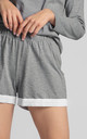 Cotton Pyjama Shorts with Lace Hem in Grey by MOE