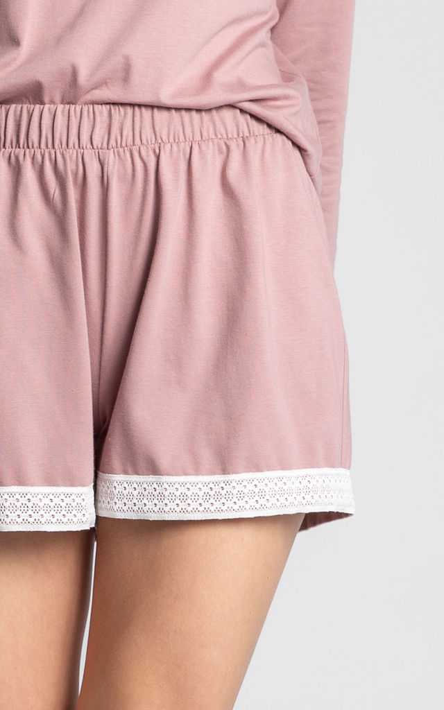 Cotton Pyjama Shorts with Lace Hem in Pink by MOE