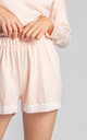 Cotton Pyjama Shorts with Lace Hem in Light Pink by MOE