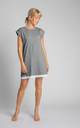 Cotton Nightdress with Lace Hem in Grey by MOE