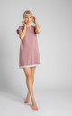 Cotton Nightdress with Lace Hem in Pink by MOE