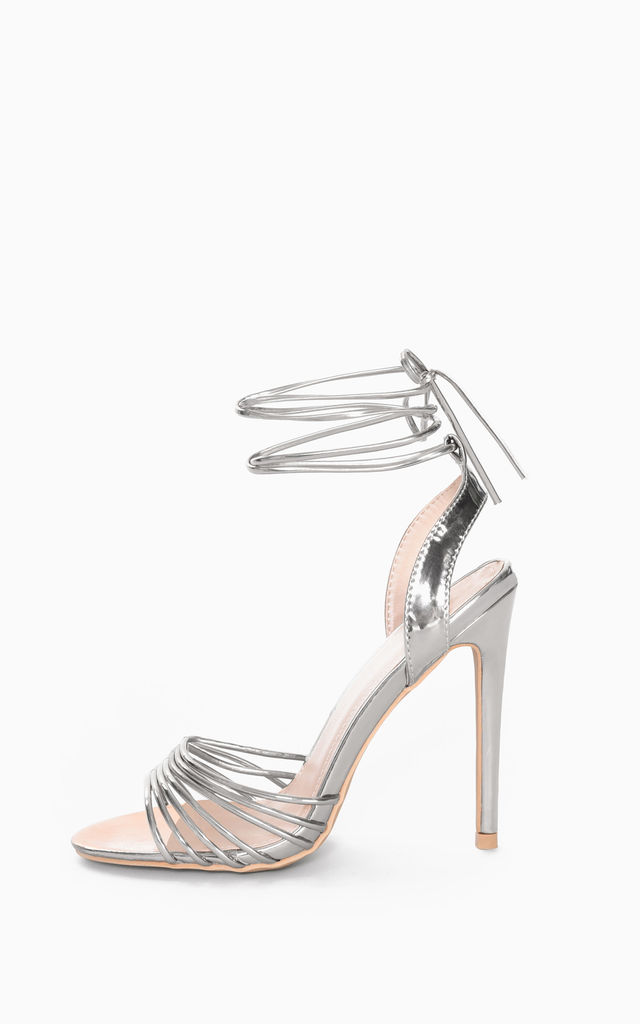Strappy Metallic Silver Heeled Sandal by True Decadence