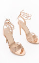 Strappy Metallic Rose Gold Heeled Sandal by True Decadence