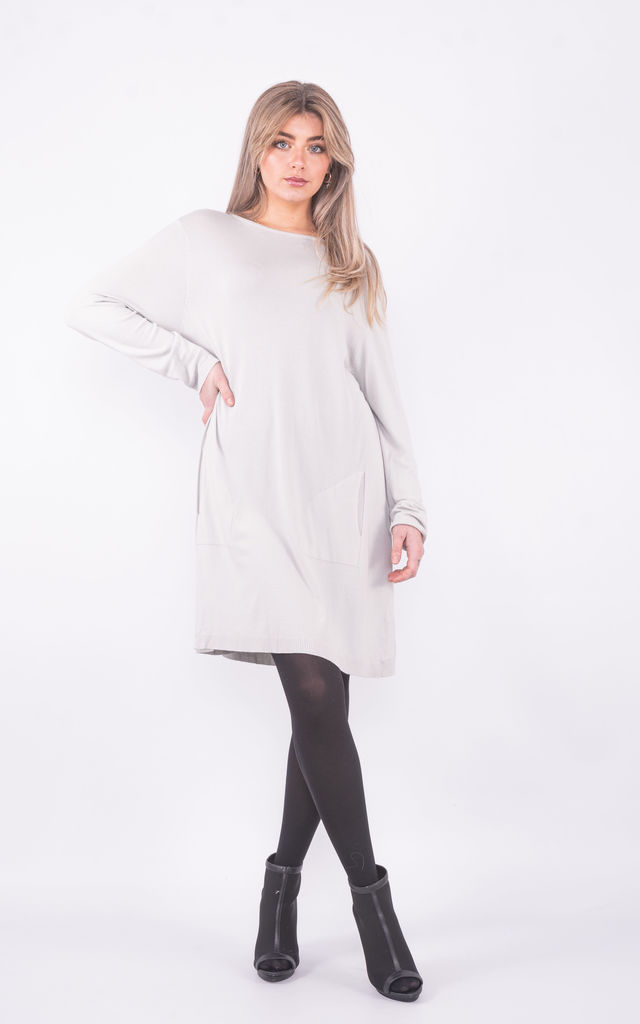 Wide neck jumper dress with pockets (Grey) by Lucy Sparks