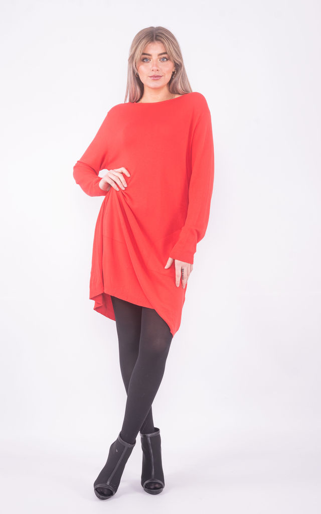 Wide neck jumper dress with pockets (Red) by Lucy Sparks